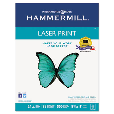 Laser Print Office Paper, 98 Brightness, 24lb, 8-1/2 x 11, White
