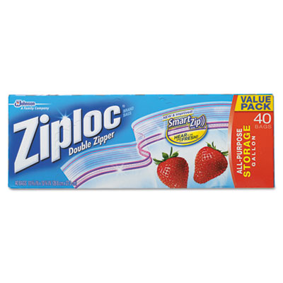 Double Zipper Storage Bags, Plastic, 1 gal, 1,75 mil, Clear, 40/