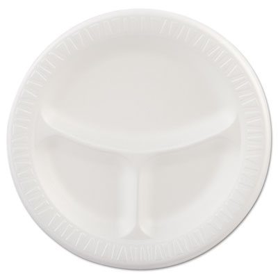 "Foam Plastic Plates, 9"" dia, White, Round, 3 Compartments, 125/P"