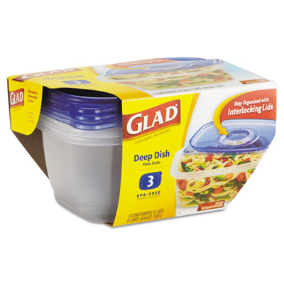GladWare Deep Dish Food Storage Containers, 64 oz, 3/Pk, 6 Pk/Ct