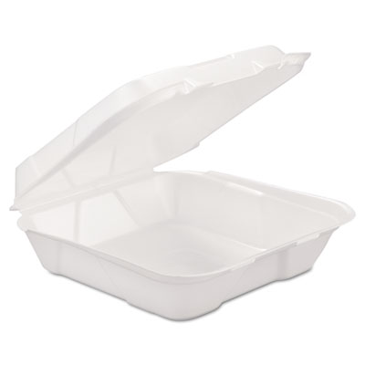 Foam Hinged-Lid Container, 1-Comp, White, 9 1/4 x 9 1/4 x 3, 200