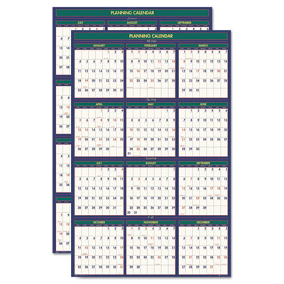 4 Seasons Reversible Business/Academic Wall Calendar, 24 x 37, 2