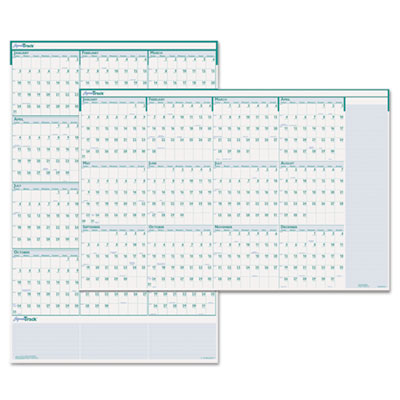 Express Track Reversible/Erasable Yearly Wall Calendar, 24 x 37,