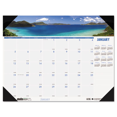 Coastlines Photographic Monthly Desk Pad Calendar, 22 x 17, 2015
