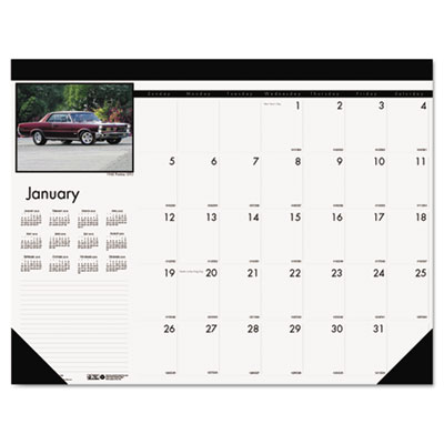 Classic Cars Photographic Monthly Desk Pad Calendar, 22 x 17, 20