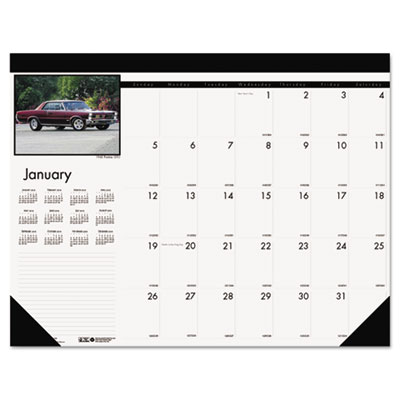 Classic Cars Photographic Monthly Desk Pad Calendar, 18-1/2 x 13