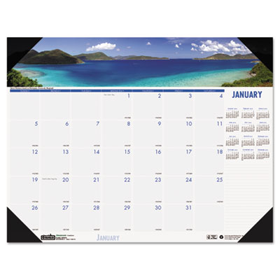 Coastlines Photographic Monthly Desk Pad Calendar, 18-1/2 x 13,