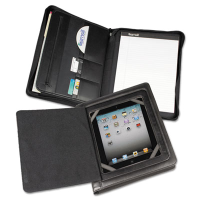 iPad Zipper Padholder With Magnetic  Flap, Vinyl, Black