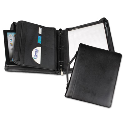 "Leather Multi-Ring Zippered Portfolio, Two-Part, 1"" Cap, 11 x 13"