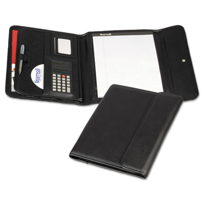 Professional Tri-Fold Padfolio w/Calculator, Writing Pad, Vinyl,