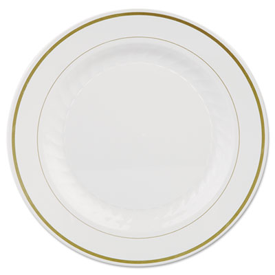 Masterpiece Plastic Plates, 10 1/4in, Ivory w/Gold Accents, Roun