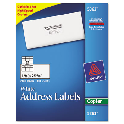 Self-Adhesive Address Labels for Copiers, 1-3/8 x 2-13/16, White