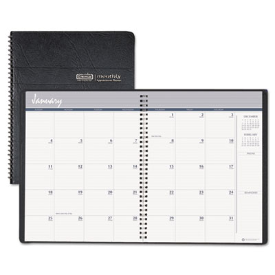 24-Month Ruled Monthly Planner, 8-1/2 x 11, Black, 2015-2016