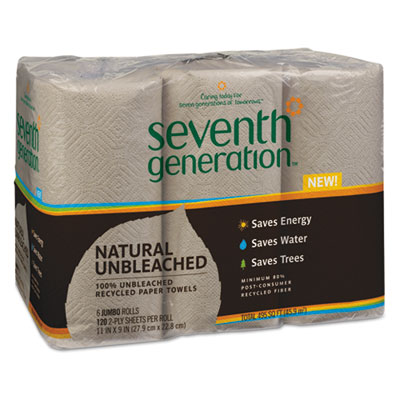 Natural 100% Unbleached Recycled Paper Towels, 2-Ply, Brown, 6/P