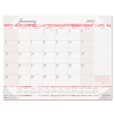 Breast Cancer Awareness Monthly Desk Pad Calendar, 22 x 17, 2015