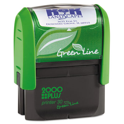 2000 PLUS Green Line Self-Inking Custom Message Stamp, 11/16 x 1