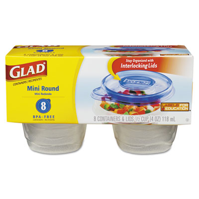 GladWare Mini Round Food Storage Containers, 4 oz,  8/Pk, 12 Pk/