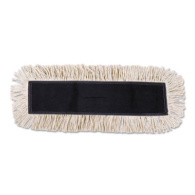 Disposable Dust Mop Head w/Sewn Center Fringe, Cotton/Synthetic,