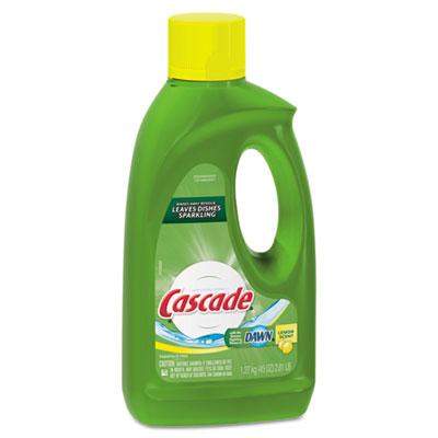 Automatic Dishwasher Gel w/Bleach, Lemon, 45oz Bottle, 9/Carton