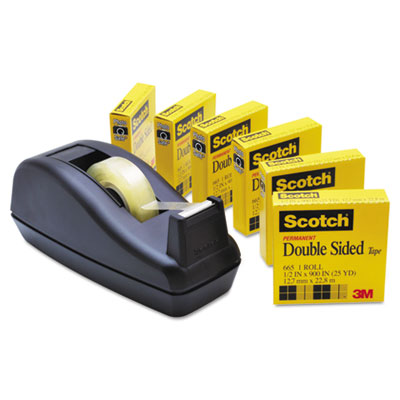"""665 Double-Sided Tape with C40 Dispenser, 1/2"""" x 900"""", 6/Pack"""