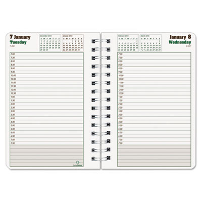 Daily Planner Ruled For 30-Minute Appointments, 8 x 5, Black, 20