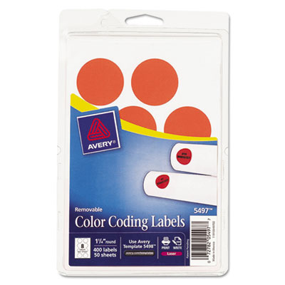 Print or Write Removable Color-Coding Labels, 1-1/4in dia, Neon