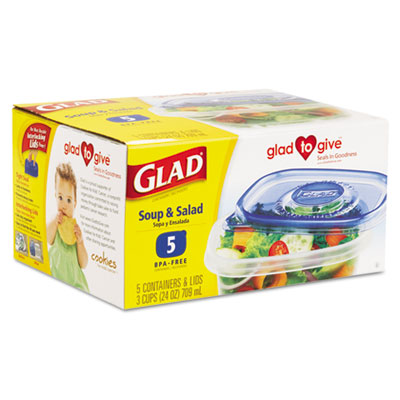 GladWare Soup and Salad Food Storage Containers, 24 oz., 5/Pk, 6