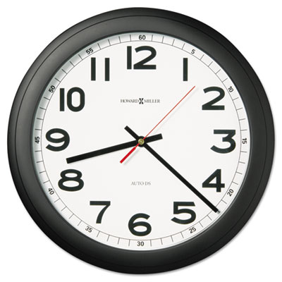 "Norcross Auto Daylight-Savings Wall Clock, 15-3/4"", Black, 1 AA"