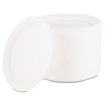 "Famous Service Plastic Dinnerware, Plate, 6"" dia, White, 125/Pac"