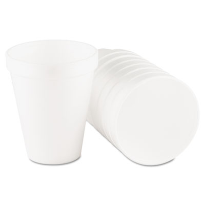 Drink Foam Cups, 10oz, White, 25/Bag, 40 Bags/Carton