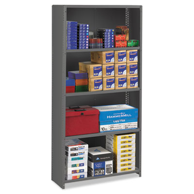 Closed Commercial Steel Shelving, Five-Shelf, 36w x 12d x 75h, M