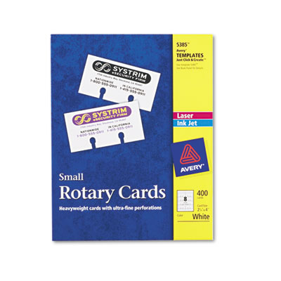 Small Rotary Cards, Laser/Inkjet, 2 1/6 x 4, 8 Cards/Sheet, 400