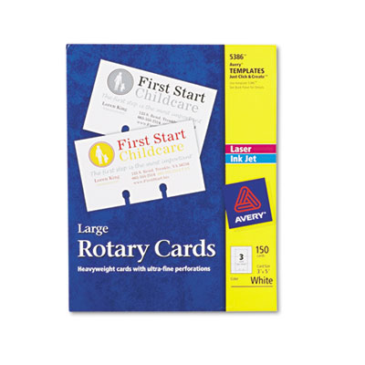 Large Rotary Cards, Laser/Inkjet, 3 x 5, 3 Cards/Sheet, 150 Card