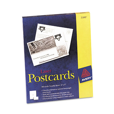 Postcards for Laser Printers, 4 x 6, White, 2/Sheet, 100/Box
