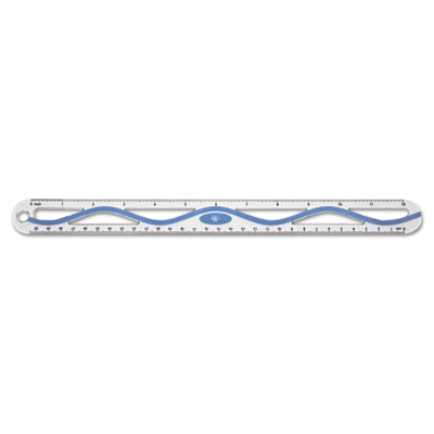 "12"" Aluminum Wave Ruler, Standard/Metric, Blue"