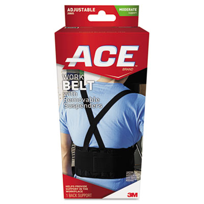 "Work Belt with Removable Suspenders, Fits Waists Up To 48"", Blac"