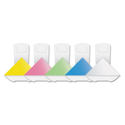 "Assorted color paper corner clips, 1 1/2"" x 1 1/4"""