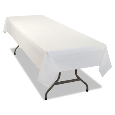 Rectangular Table Cover, Heavyweight Plastic, 54 x 108, White, 6