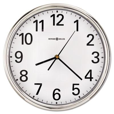 """Hamilton Wall Clock, 12"""", Silver, 1 AA"""