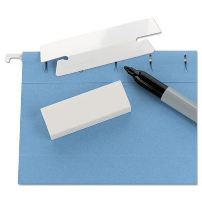 Erasable Hanging Folder Tabs, 1/3 Tab, 3 1/2 Inch, White, 25/PK