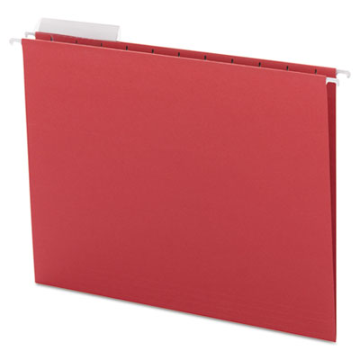 Color Hanging Folders with 1/3-Cut Tabs, 11 Pt. Stock, Red, 25/B