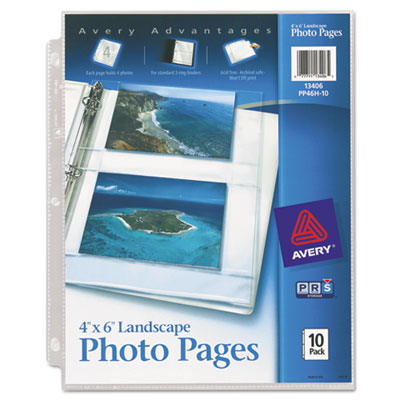 Photo Pages for Four 4 x 6 Horizontal Photos, 3-Hole Punched, 10