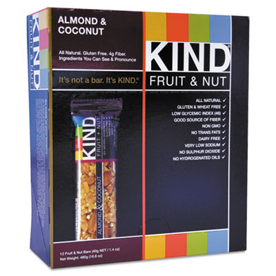 Fruit and Nut Bar, Almond/Coconut, 1.4 oz, 12/Box