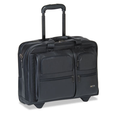 "Classic Leather Rolling Case, 15.6"", 17 x 8 x 13 1/2, Black"