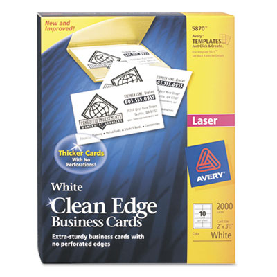 Two-Side Printable Clean Edge Business Cards, Laser, 2 x 3-1/2,