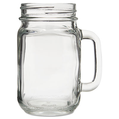 "Glass Mugs and Tankards, Drink Jar, 16.5oz, 5 1/4"" Tall, 12/Cart"