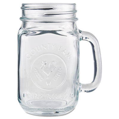 Glass Drinking Jar, 16 1/2 Ounces, Clear, 12/Carton