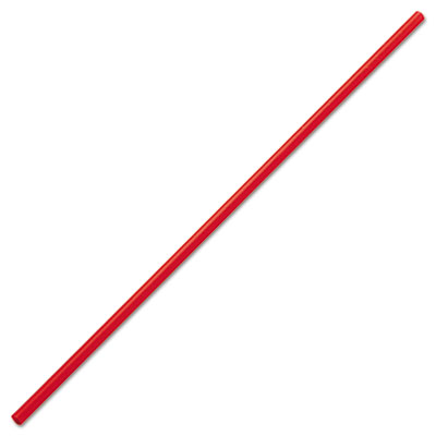 "Unwrapped Stir-Straws, 5 1/4"", Polypropylene, Red, 1000/Box, 8 B"