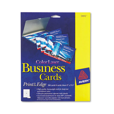 Print-to-the-Edge Two-Sided Business Cards, Color Laser, 2 x 3-1