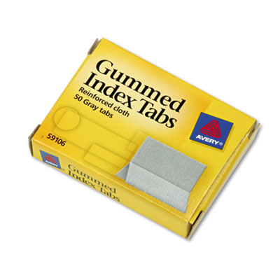Gummed Index Tabs, 1 x 13/16, Gray, 50/Pack